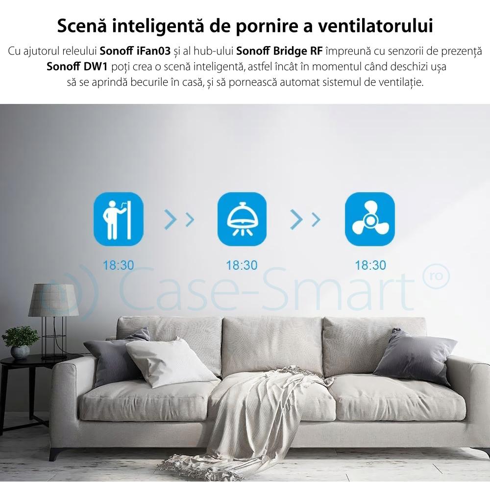 Releu Automatizare Ventilatoare Sonoff iFan03 cu Functie Control de pe telefonul mobil, Control vocal