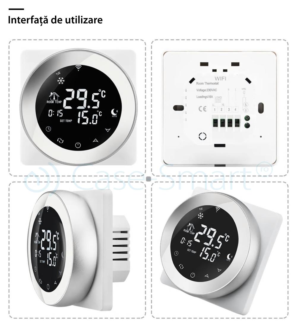 Termostat Wireless pentru incalzirea electrica in pardoseala Beok TGR87WiFi-EP, Functie Anti-inghet, Setare interval de functionare, Control de pe telefonul mobil