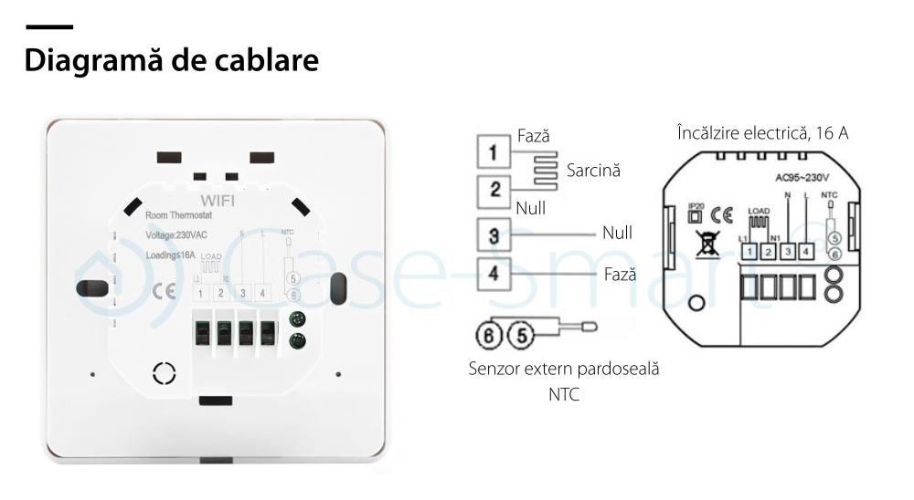 Termostat pentru incalzirea electrica in pardoseala Beok TGR87-EP, Anti-inghet, Setare interval de functionare