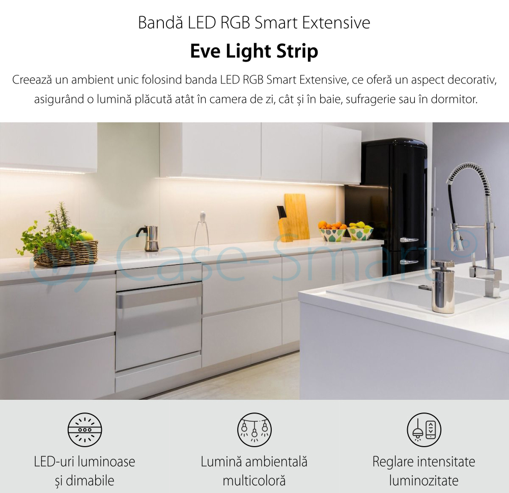 Extensie Banda LED RGB Smart Eve Light Strip Extension, 24W, 1800 lm, A++, 2m, Compatibil cu Apple Home Kit