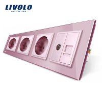 Priza cvadrupla Livolo cu rama din sticla 3 prize simple+TV/internet culoare roz