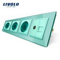 Priza cvadrupla Livolo cu rama din sticla 3 prize simple+TV/internet culoare verde