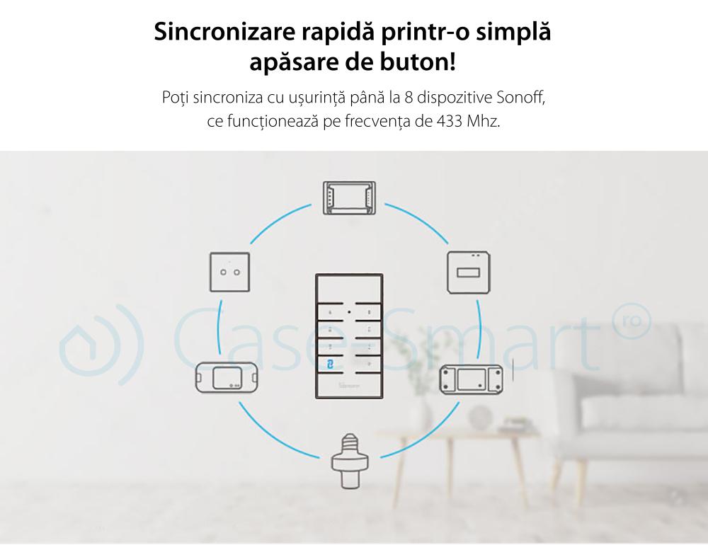 Telecomanda RF Sonoff RM433 cu Functie Sincronizare Wi-Fi, Reglaj intensitate lumini, Reglaj viteza ventilator