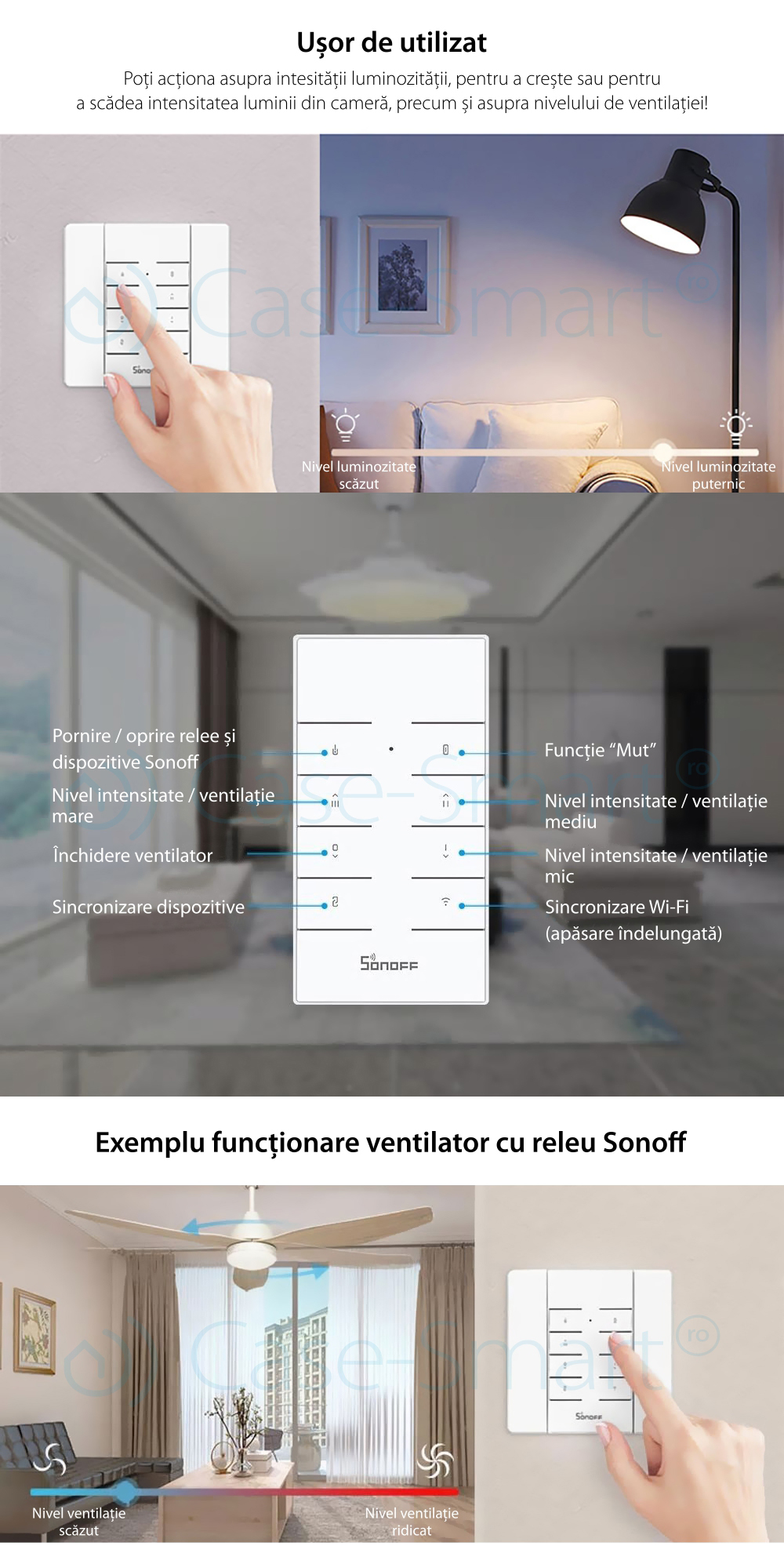 Pachet Suport perete + Telecomanda RF Sonoff RM433 cu Functie Sincronizare Wi-Fi, Reglaj intensitate lumini, Reglaj viteza ventilator