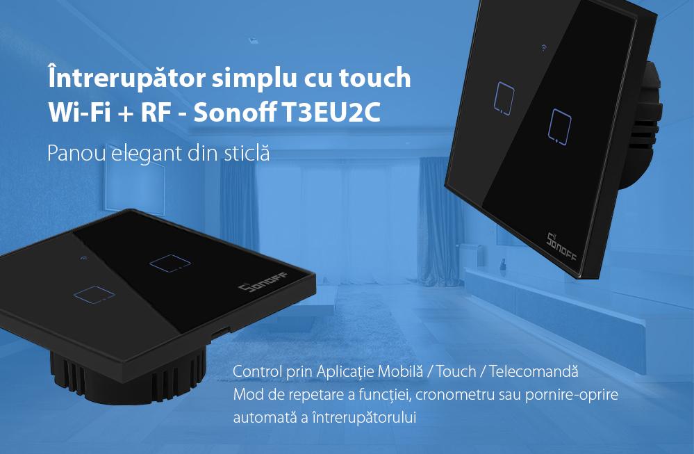 Intrerupator dublu cu touch Sonoff T3EU2C, Wi-Fi + RF