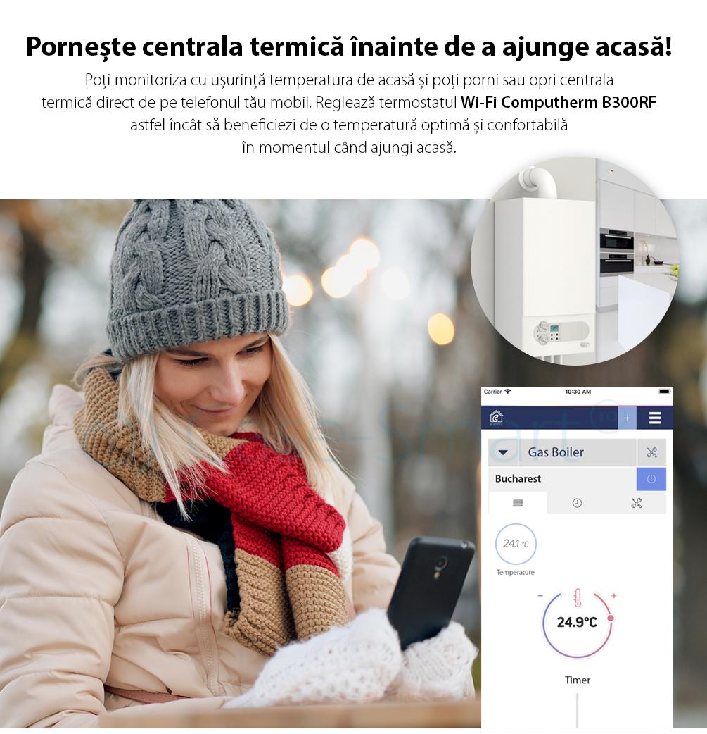 Termostat COMPUTHERM B300RF Wi-Fi cu senzor de temperatura fara fir, Timer, Control de pe telefonul mobil, Distribuire control acces