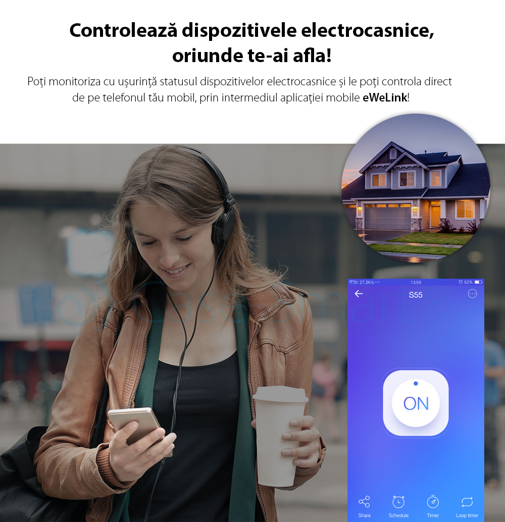 Priza inteligenta pentru exterior Wi-Fi Sonoff S55F, Control de pe telefonul mobil, Control vocal, Distribuire control acces, Timer, Smart scenes, Rezistenta la apa