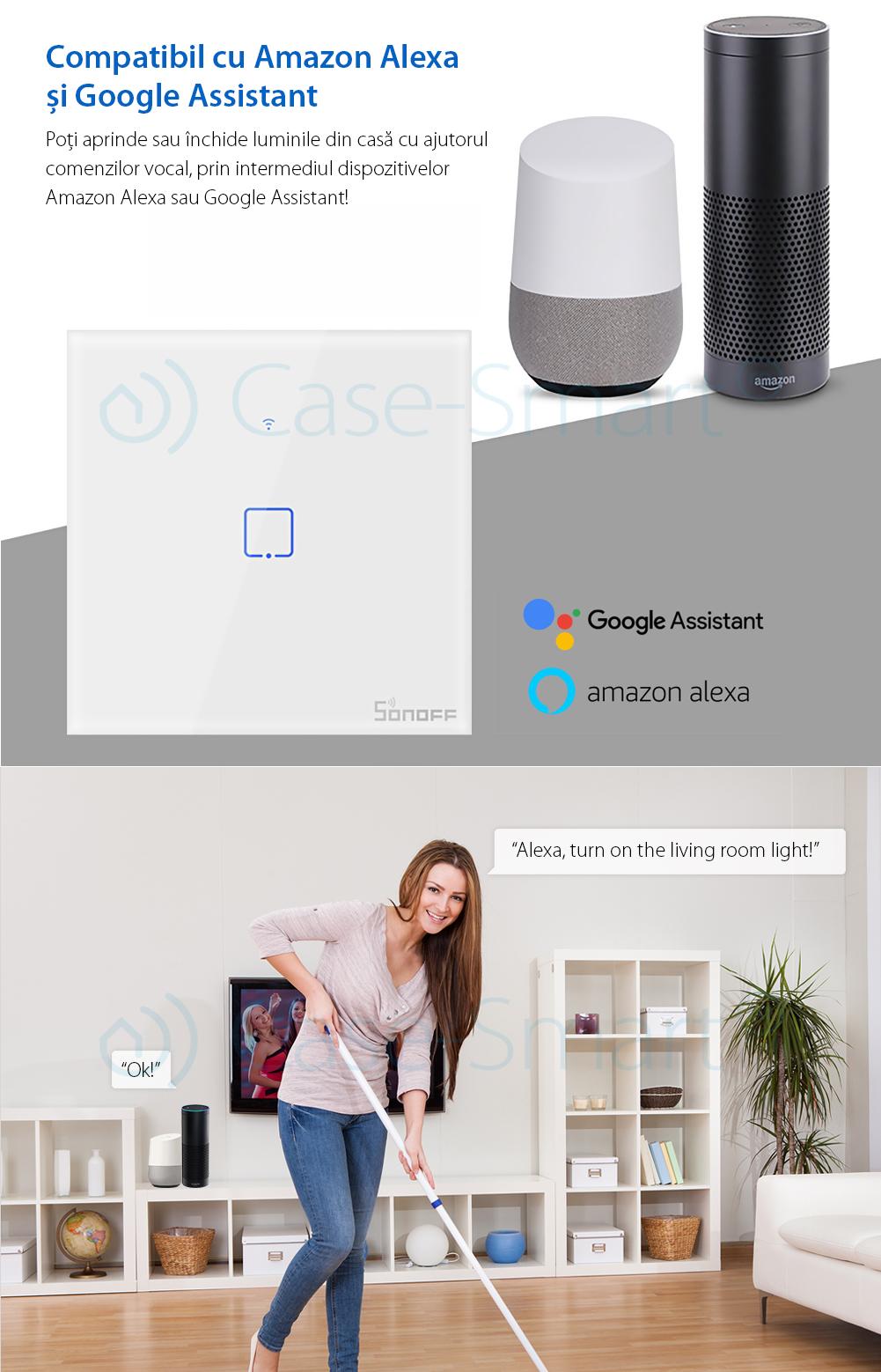 Intrerupator simplu cu touch Sonoff T1EU1C, Wi-Fi + RF