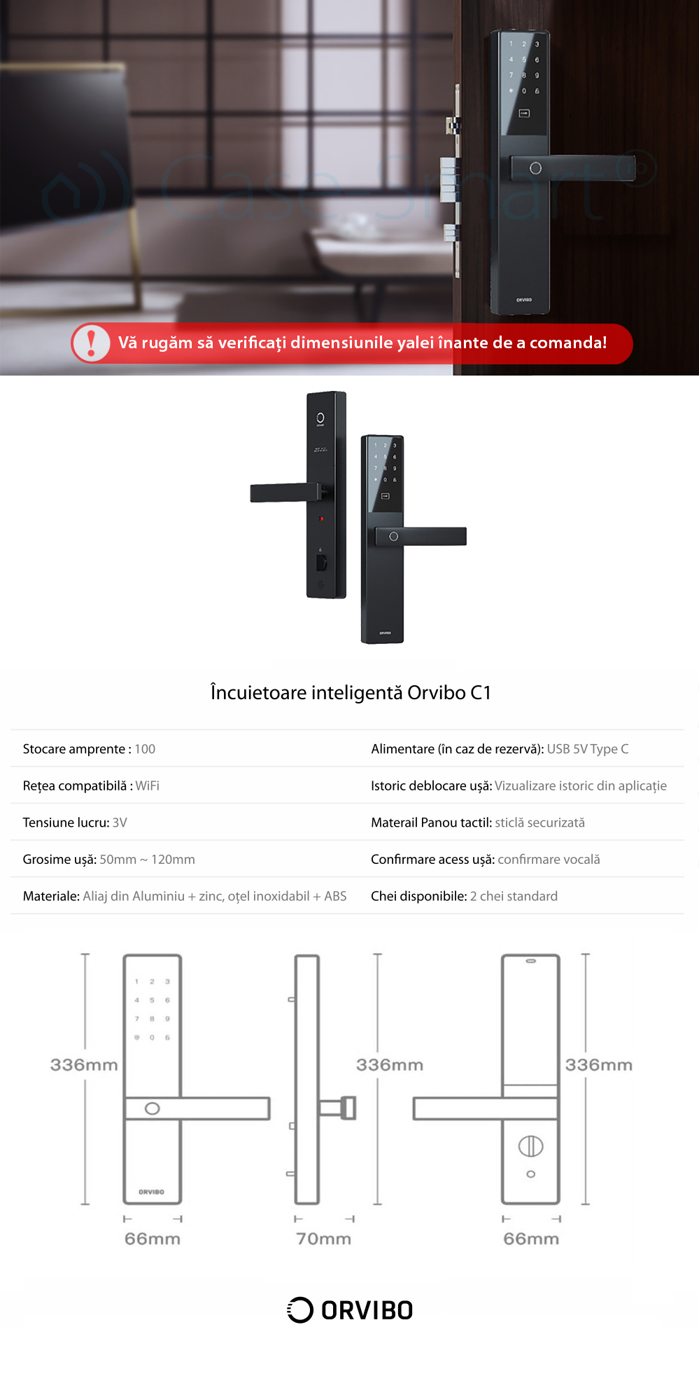 Incuietoare inteligenta Orvibo C1, Monitorizare in timp real, Control de pe telefonul mobil, Amprenta, Parola, Istoric