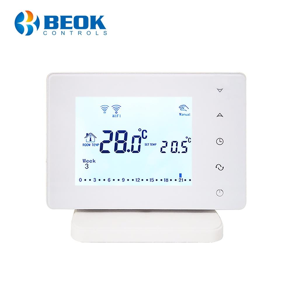 Termostat Wi-Fi pentru centrala termica pe gaz si incalzire in pardoseala cu agent termic BeOk BOT306RF-WIFI, Programabil, Memorare setari, Anti-inghet, Control de pe telefonul mobil imagine case-smart.ro 2021