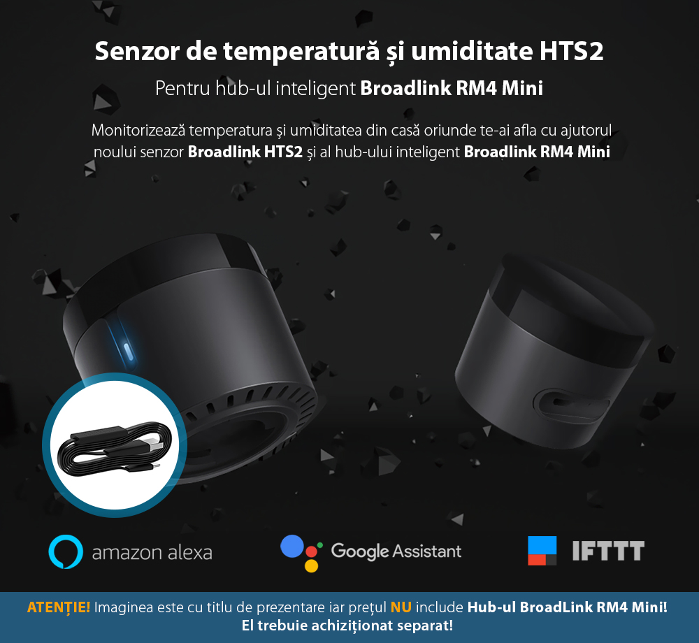 Senzor de temperatura si umiditate BroadLink HTS2 pentru Hub-ul RM4 Mini / RM4 Pro