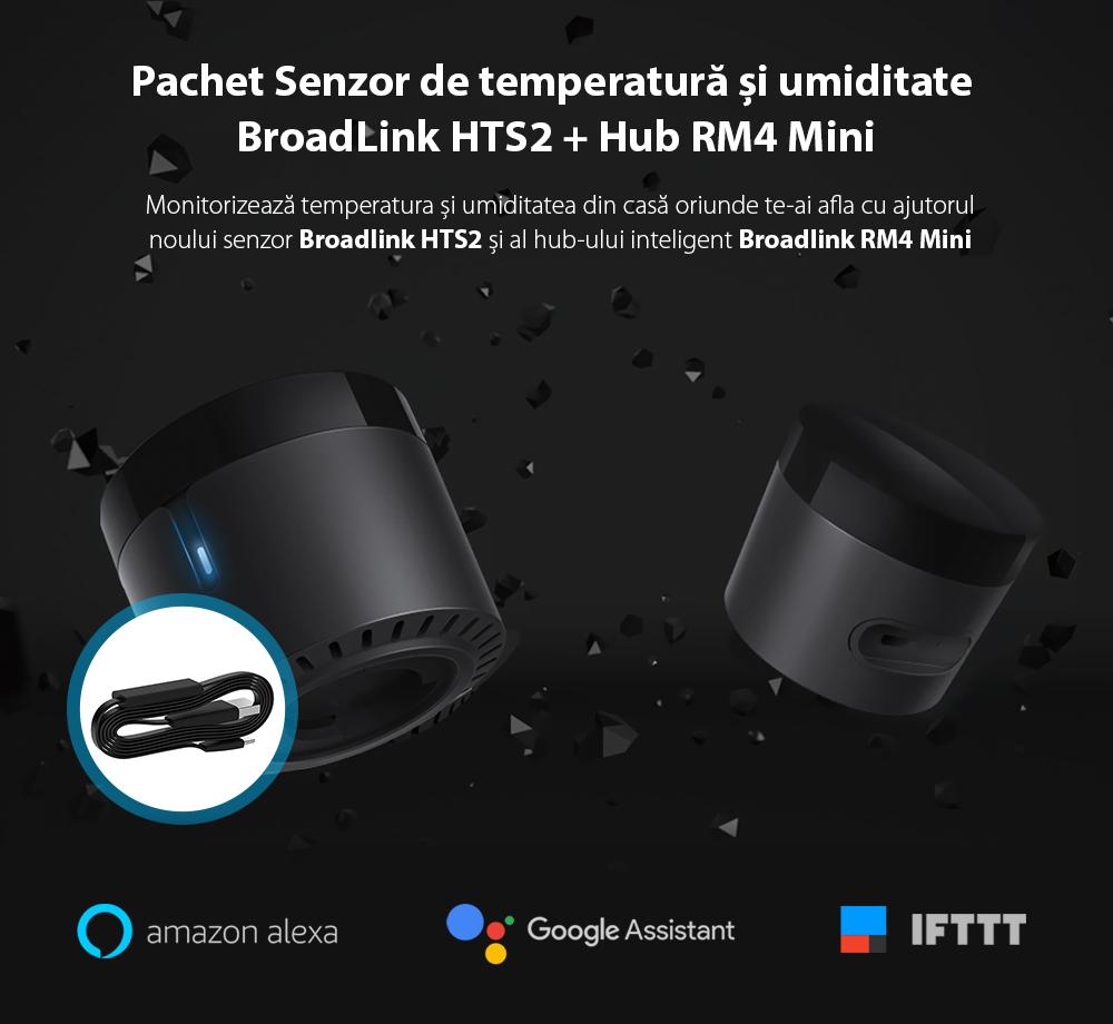 Pachet BroadLink Hub RM4 Mini + Senzor de temperatura si umiditate HTS2