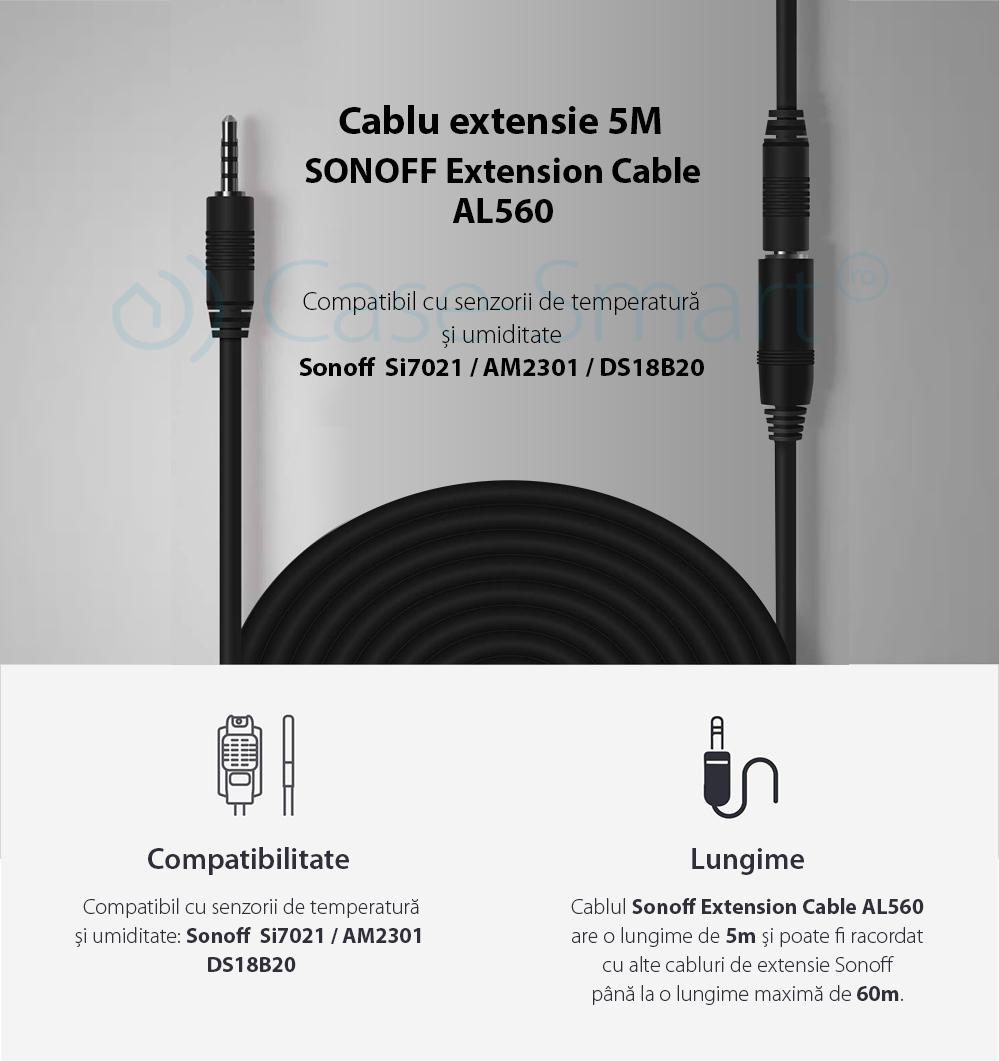 Cablu extensie senzori de temperatura si umiditate Sonoff AL560, 5M lungime, Compatibil cu senzorii SI7021, AM2301, DS18B20