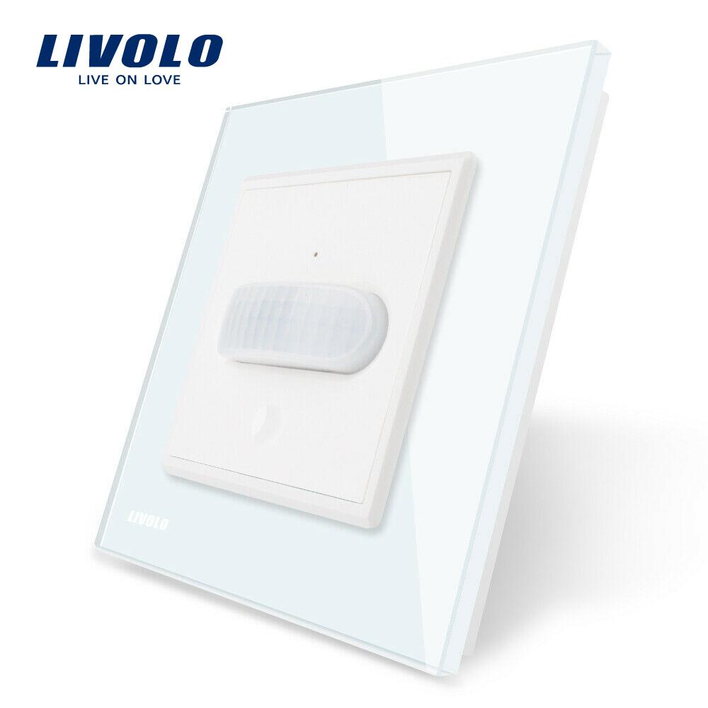 Intrerupator senzor de miscare PIR Livolo cu rama din sticla imagine case-smart.ro 2021