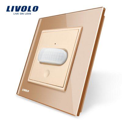 Intrerupator senzor de miscare PIR Livolo cu rama din sticla culoare aurie