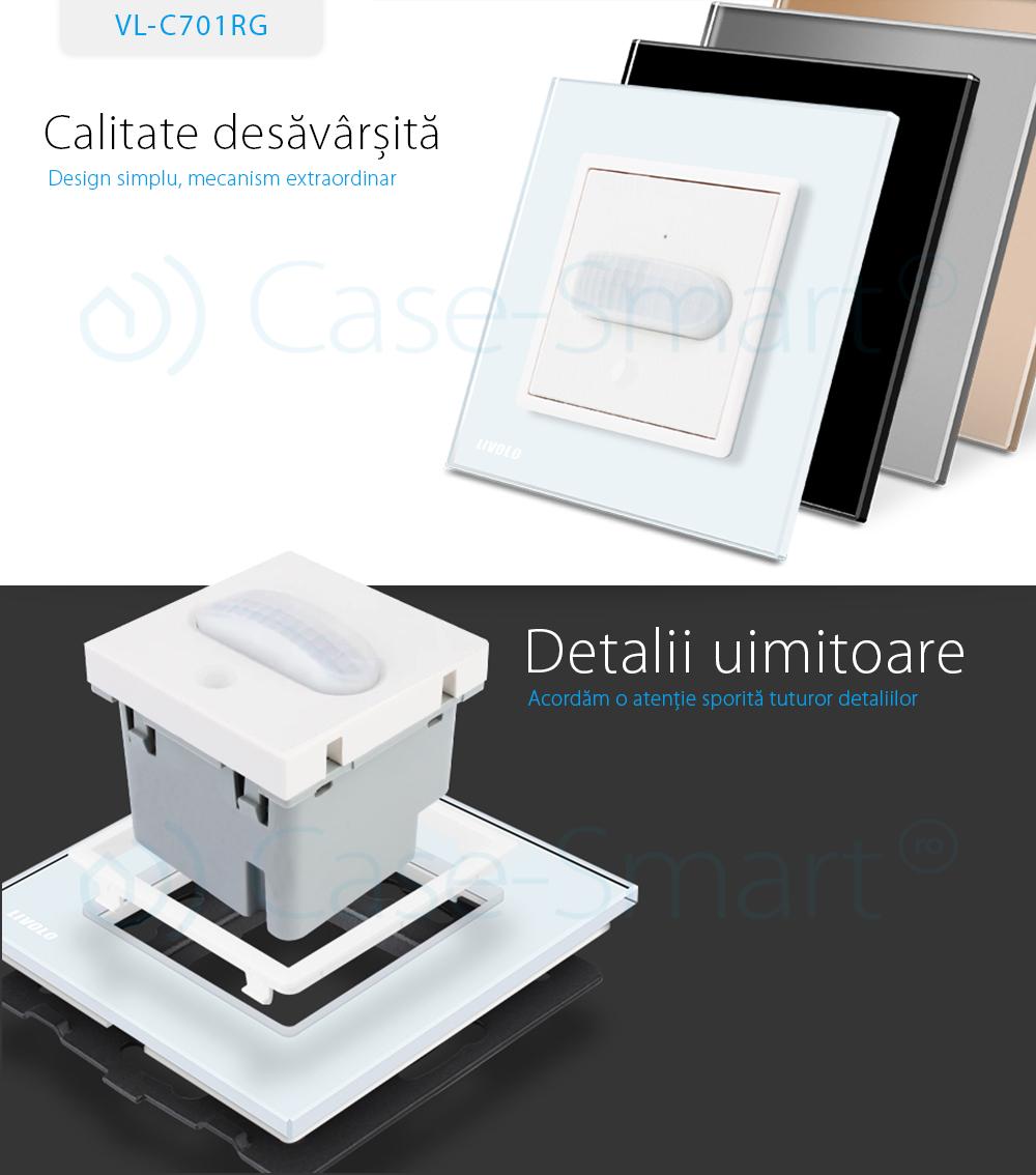 Intrerupator senzor de miscare PIR Livolo cu rama din sticla