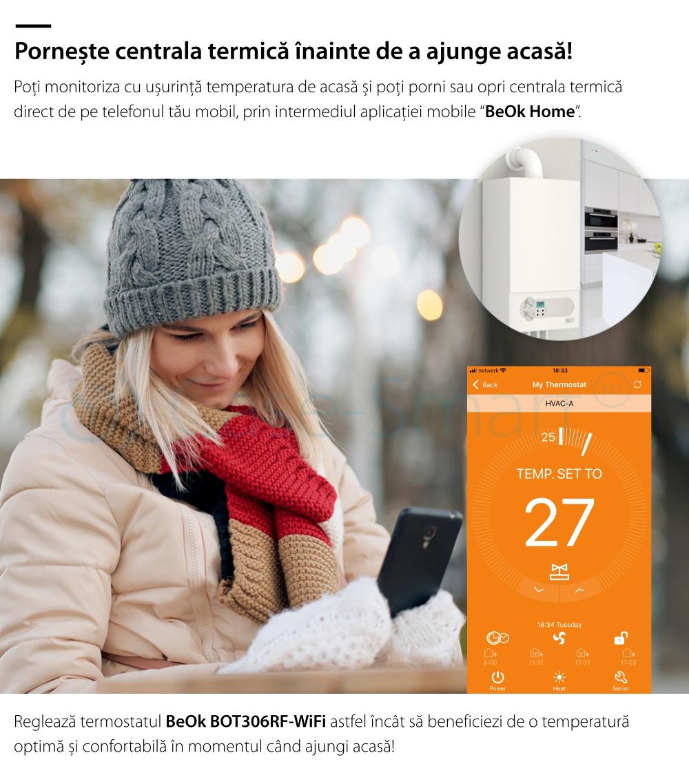 Termostat Wi-Fi pentru centrala termica pe gaz si incalzire in pardoseala cu agent termic BeOk BOT306RF-WIFI, Programabil, Memorare setari, Anti-inghet, Control de pe telefonul mobil