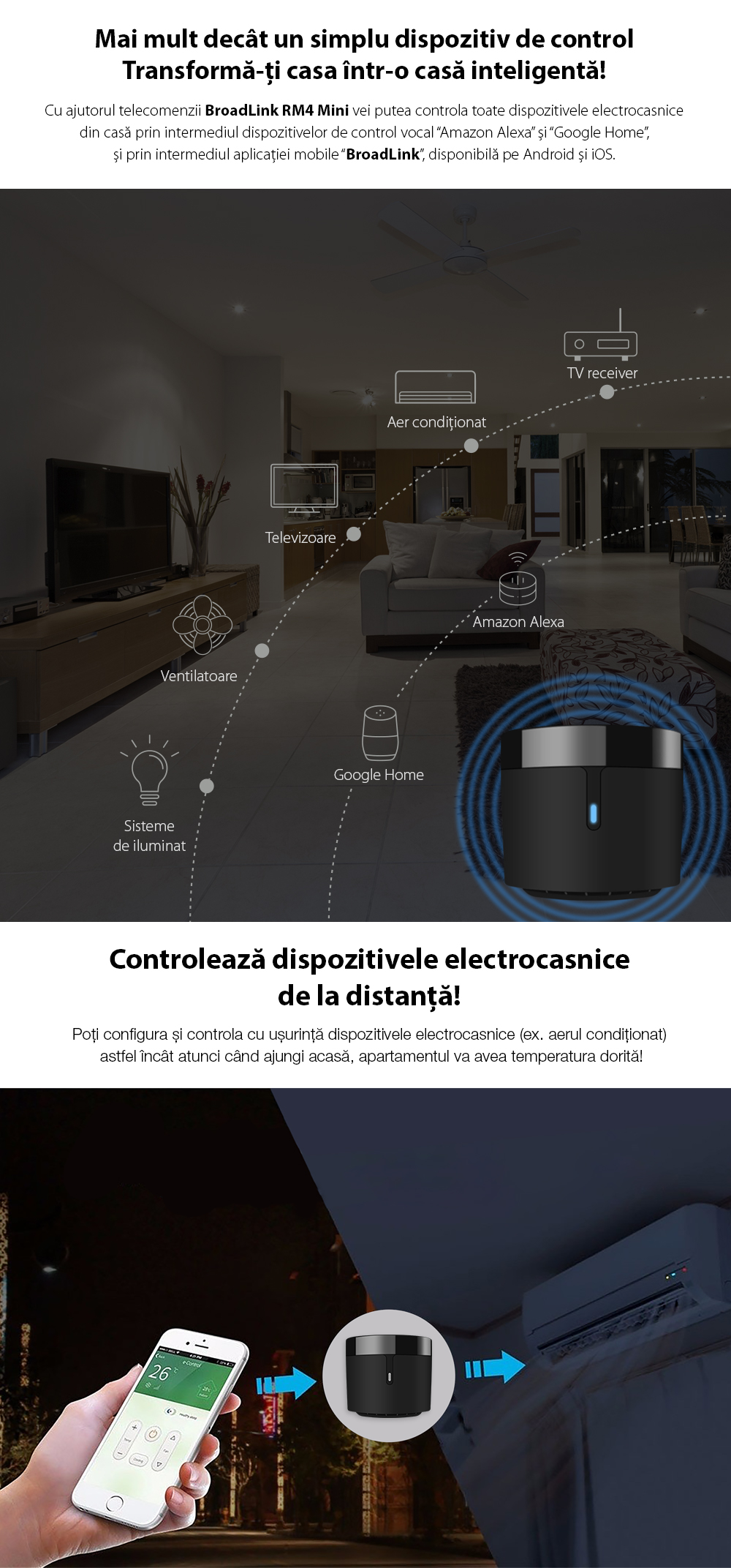 Telecomanda inteligenta BroadLink RM4 Mini, control IR