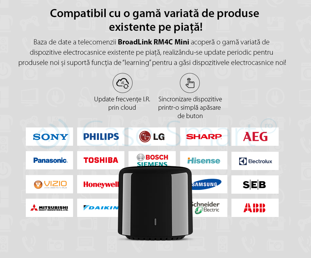 Telecomanda inteligenta BroadLink RM4C Mini, IR, Wi-Fi, compatibil Amazon Alexa si Google Home