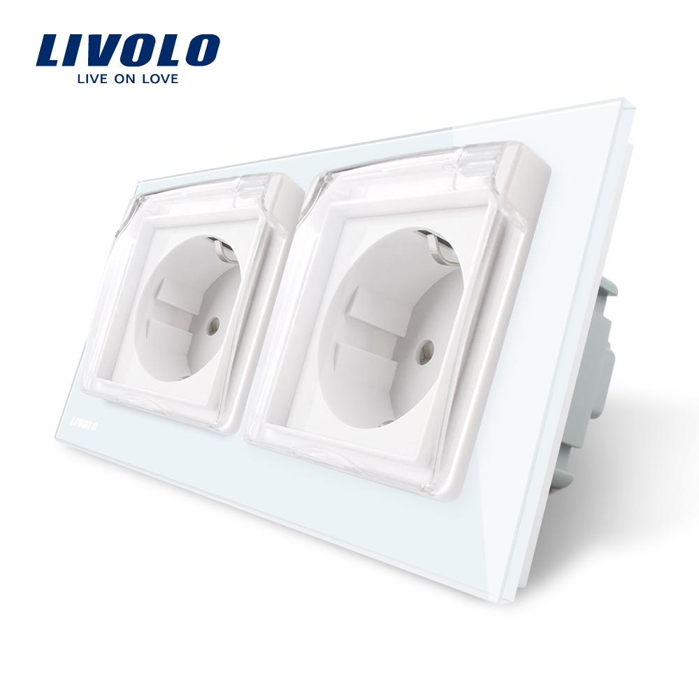 Priza dubla Livolo cu rama din sticla si capac de protectie rezistent la apa imagine case-smart.ro 2021