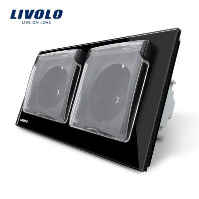 Priza dubla Livolo cu rama din sticla si capac de protectie rezistent la apa culoare neagra