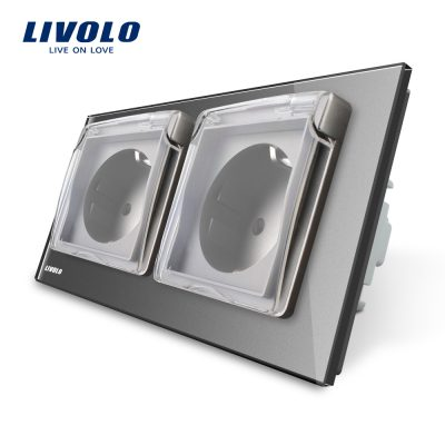 Priza dubla Livolo cu rama din sticla si capac de protectie rezistent la apa culoare gri