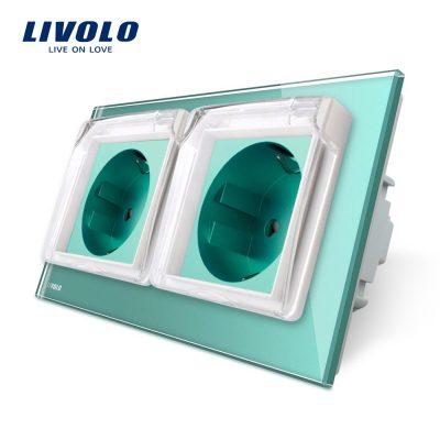 Priza dubla Livolo cu rama din sticla si capac de protectie rezistent la apa culoare verde