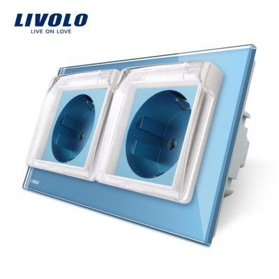 Priza dubla Livolo cu rama din sticla si capac de protectie rezistent la apa culoare albastra