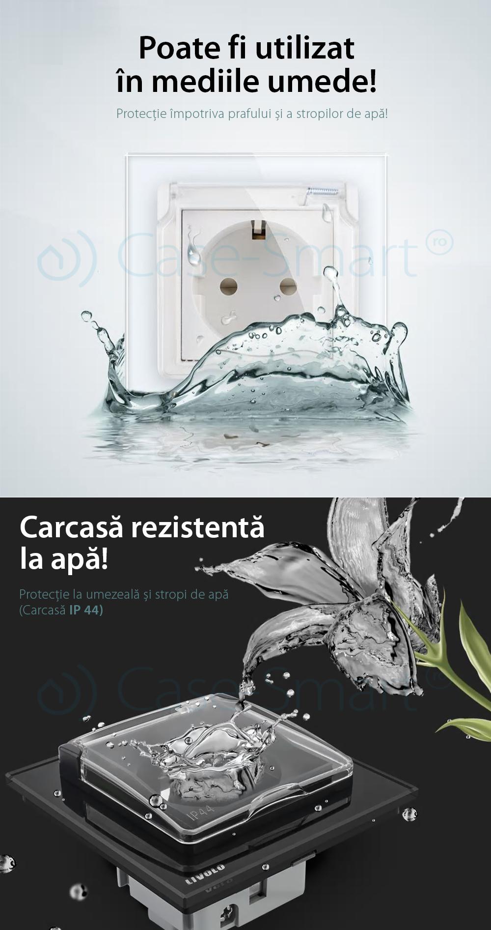 Priza dubla Livolo cu rama din sticla si capac de protectie rezistent la apa