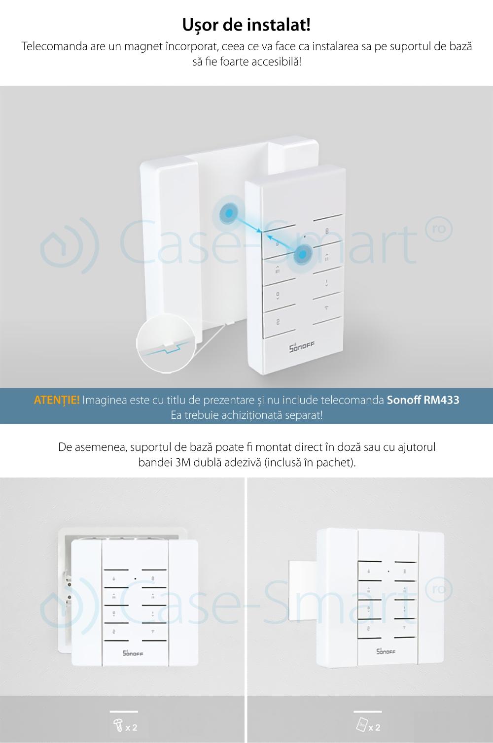 Suport perete pentru telecomanda Sonoff RM433