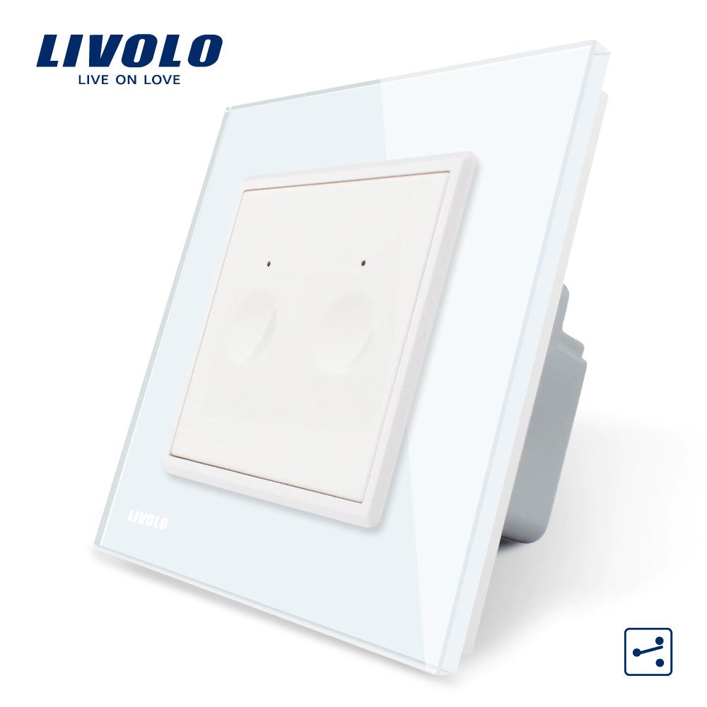 Intrerupator dublu cap scara / cap cruce cu touch Livolo din sticla, Serie noua imagine case-smart.ro 2021