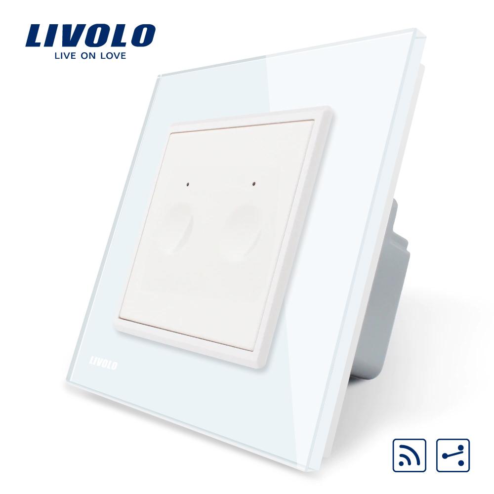 Intrerupator dublu cap scara / cap cruce wireless Livolo din sticla, Serie noua imagine case-smart.ro 2021