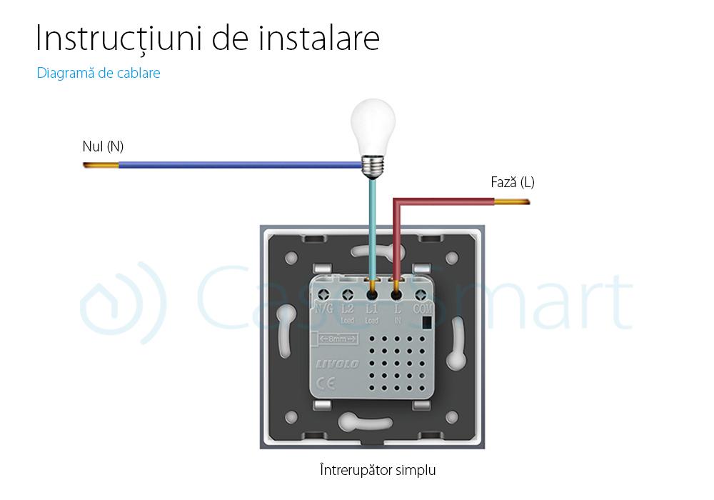Modul intrerupator simplu wireless cu touch LIVOLO, Serie noua