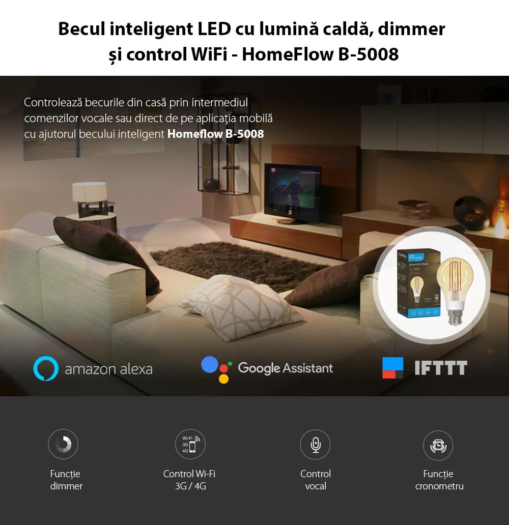 Bec inteligent LED Wireless Homeflow B-5008, B22, 5.5W (40W), 500lm, dimabil, filament, lumina calda, Control de pe telefonul mobil