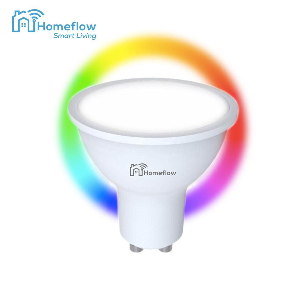 Bec inteligent LED Wireless Homeflow B-5001, GU10, 5W (35W), 300lm, RGB, dimabil, Control de pe telefonul mobil imagine case-smart.ro 2021
