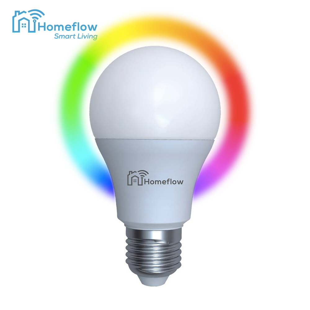Bec inteligent LED Wireless Homeflow B-5011, E27, 9W (60W), 806lm, RGB, dimabil, Control de pe telefonul mobil imagine case-smart.ro 2021