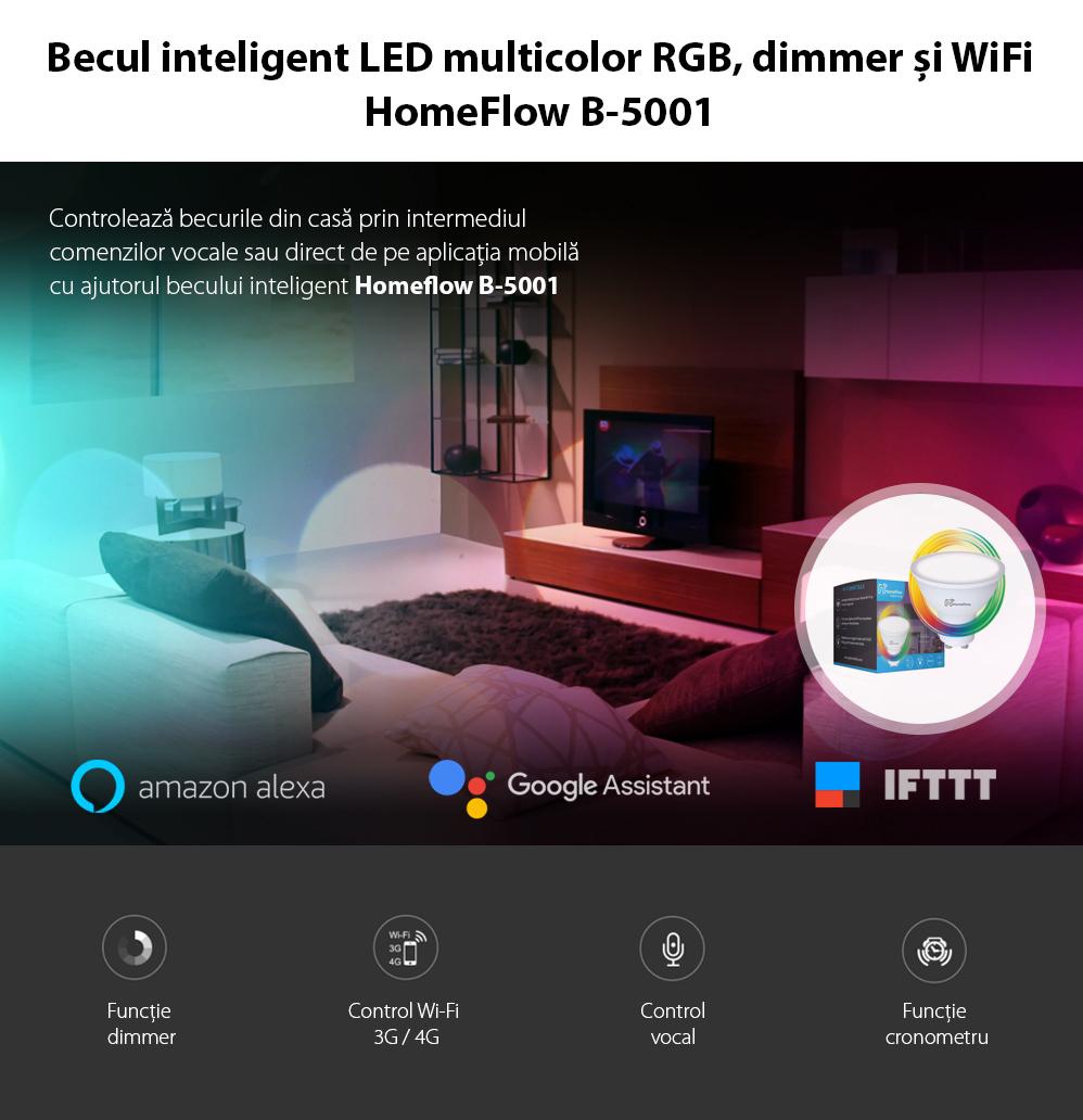 Bec inteligent LED Wireless Homeflow B-5001, GU10, 5W (35W), 300lm, RGB, dimabil, Control de pe telefonul mobil