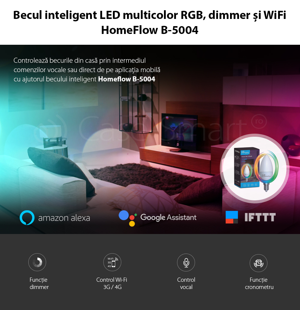 Bec inteligent LED Wireless Homeflow B-5004, E14, 5W (40W), 400lm, dimabil, RGB, Control de pe telefonul mobil