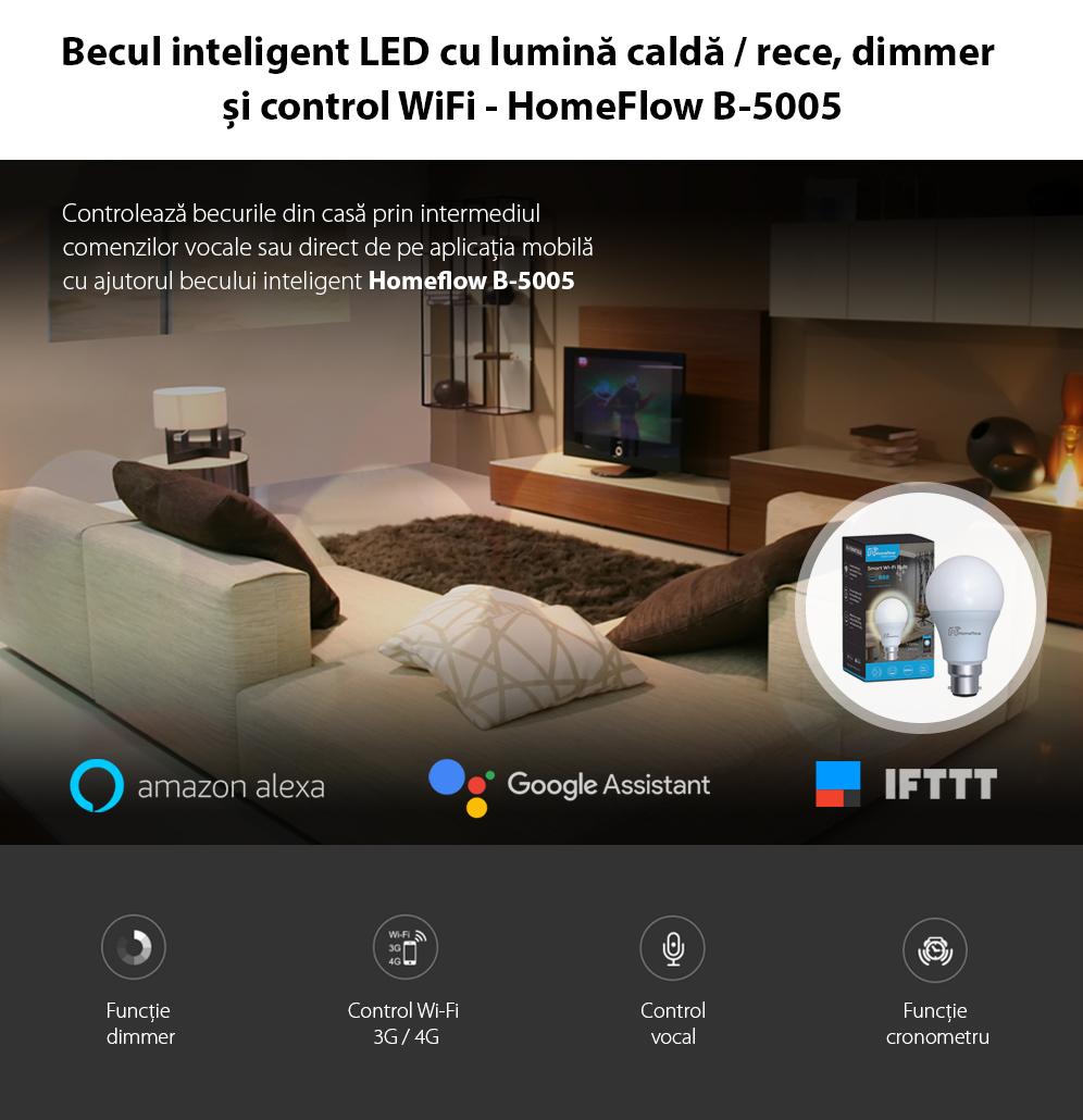Bec inteligent LED Wireless Homeflow B-5005, B22, 9W (60W), 806lm, dimabil, lumina calda/ rece, Control de pe telefonul mobil