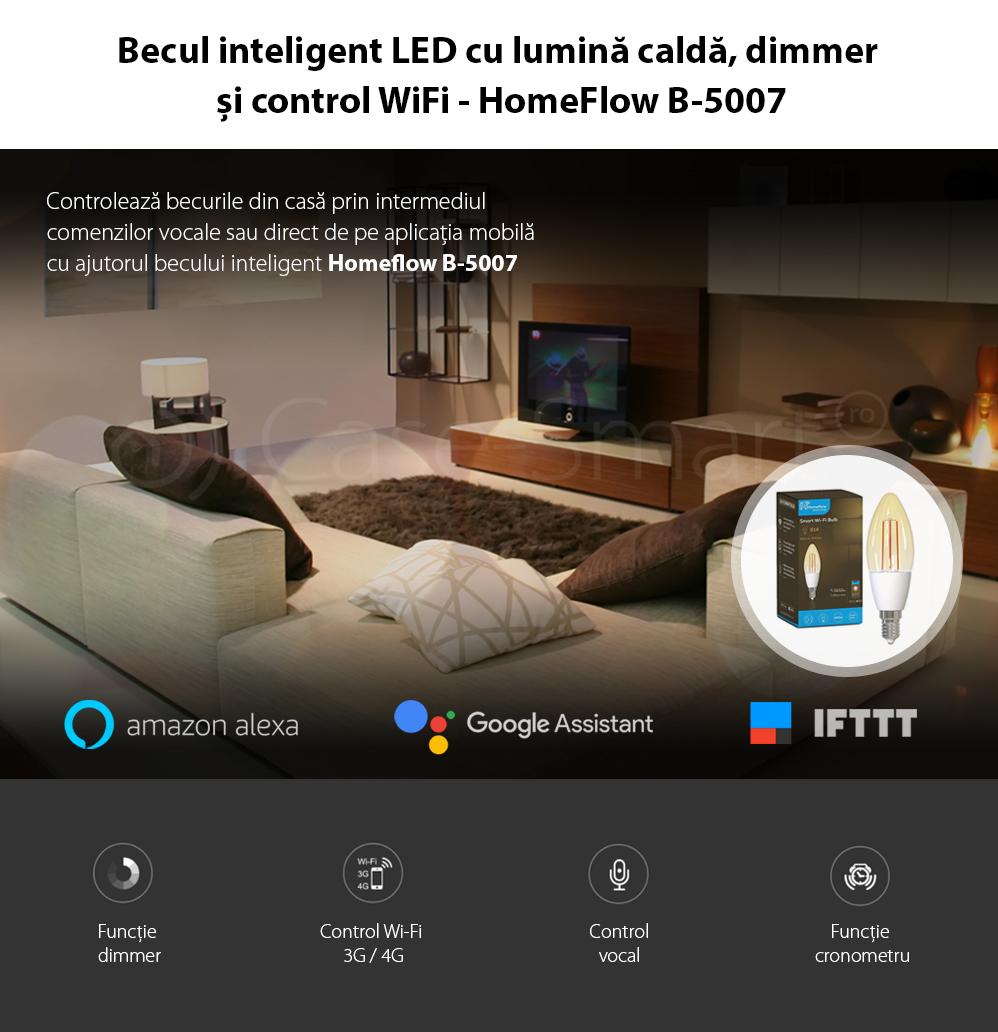 Bec inteligent LED Wireless Homeflow B-5007, E14, 4.5W (25W), 400lm, dimabil, filament, lumina calda, Control de pe telefonul mobil