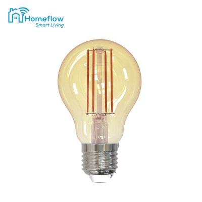 Bec inteligent LED Wireless Homeflow B-5009, E27, 5.5W (40W), 500lm, dimabil, filament, lumina calda, Control de pe telefonul mobil