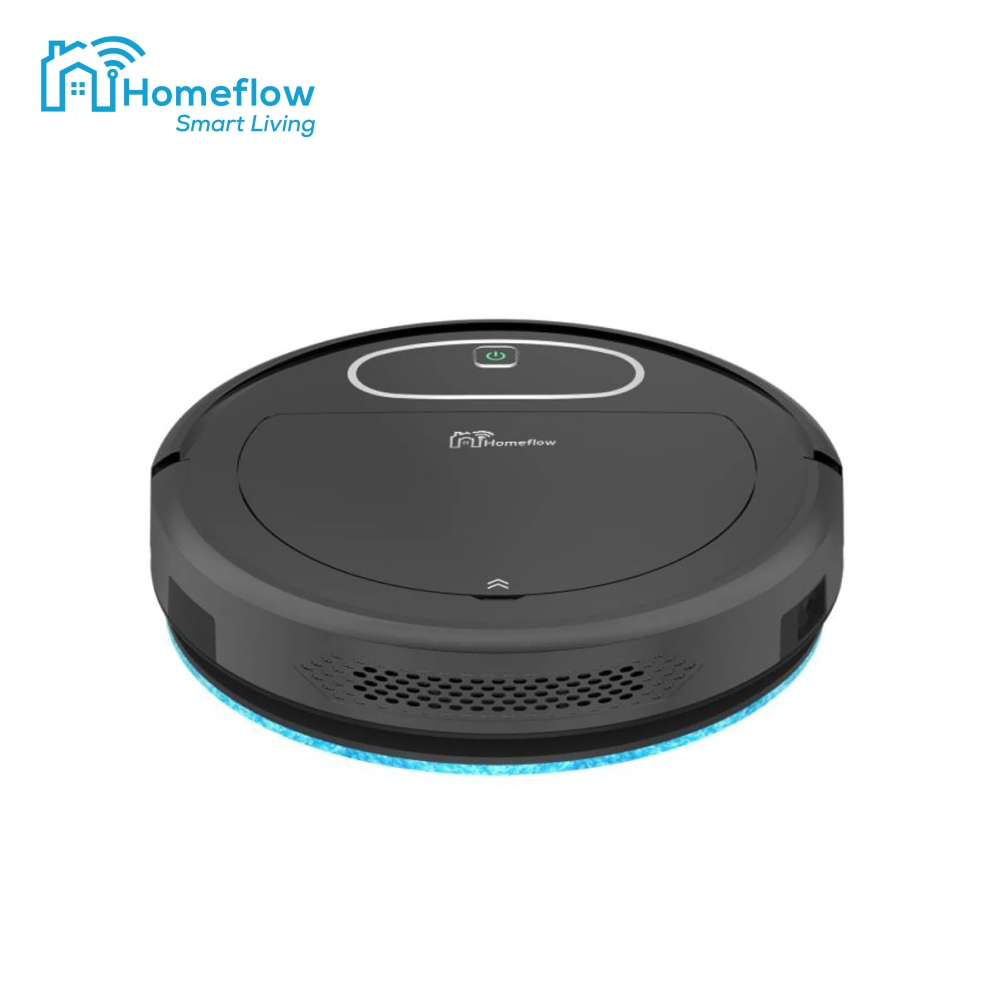Robot de aspirare Homeflow R-4001 cu functie mop, Autonomie 2h, WiFi, Recipient Apa 0.35 L, Senzor Anti-Cadere, Control vocal, Compatibil Google Assistant, Amazon Alexa, IFTTT, Negru imagine case-smart.ro 2021