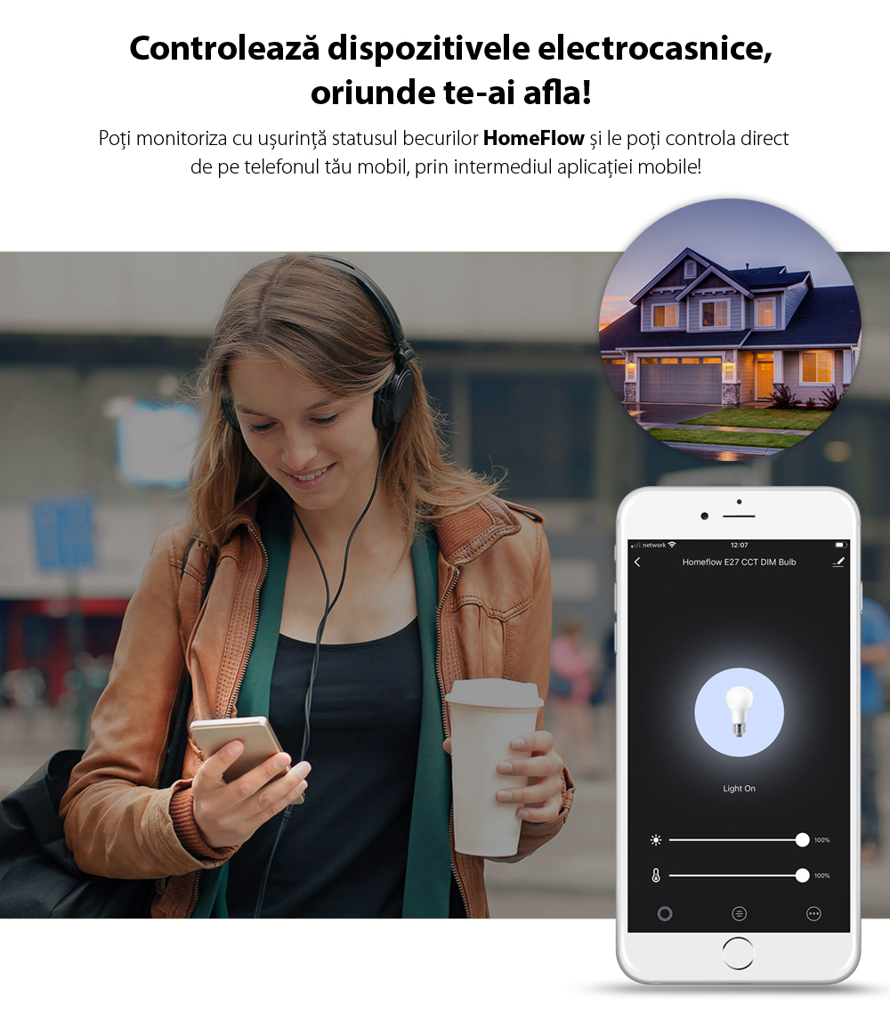Bec inteligent LED Wireless Homeflow B-5003, E14, 9W, 400lm, dimabil, lumina calda/ rece, Control de pe telefonul mobil