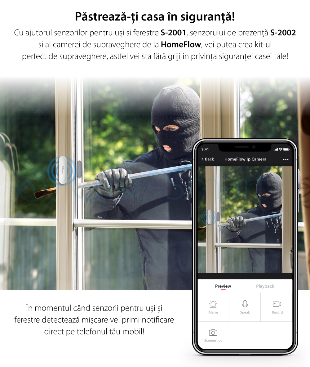 Senzor de contact pentru usi si ferestre Wireless Homeflow S-2001, Compatibil cu Google Assistant si Amazon Alexa