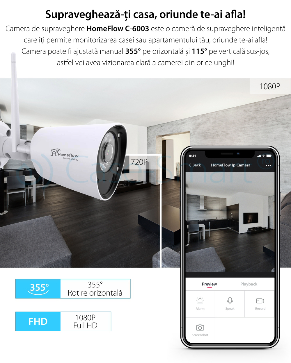 Camera de supraveghere wireless Homeflow C-6003, Exterior, Detectie miscare, Night Vision, Control de pe telefonul mobil