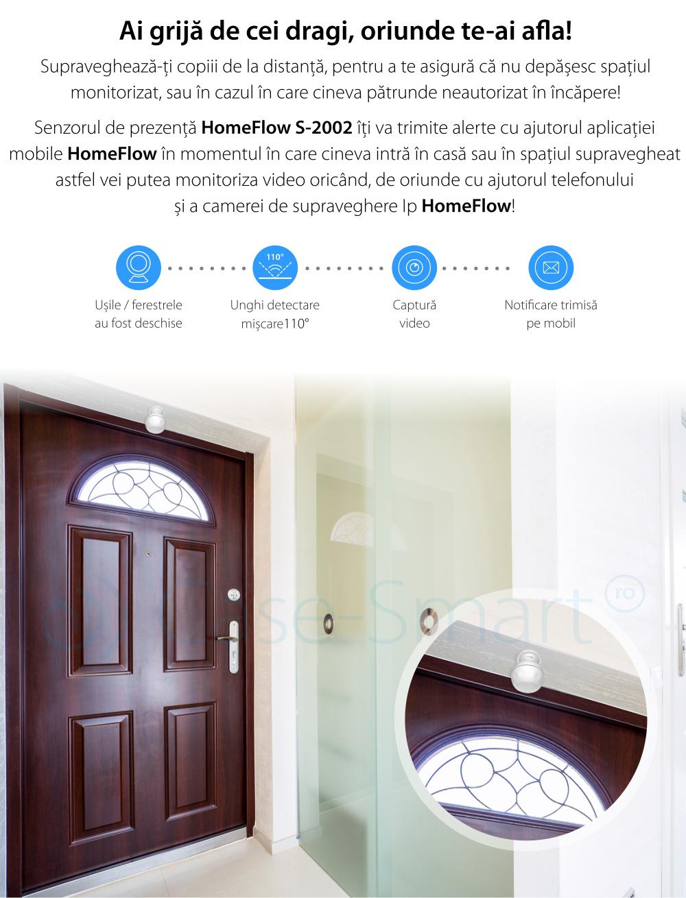Senzor de miscare Wireless Homeflow S-2002, Notificari, Creare scene de functionare