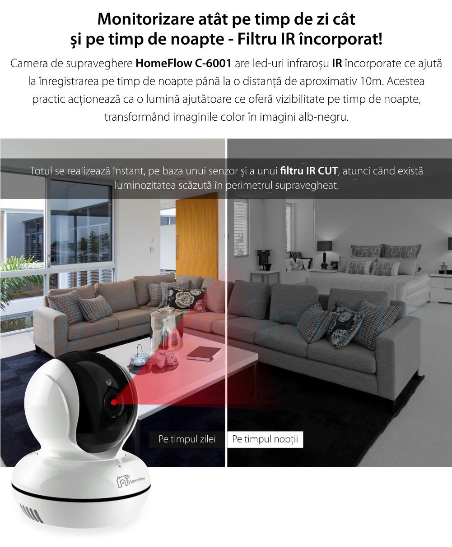 Camera de supraveghere wireless rotativa Homeflow C-6001, Comunicare bidirectionala, Detectie miscare, Inregistrare, Control de pe telefonul mobil