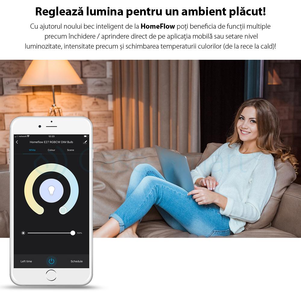 Bec inteligent LED Wireless Homeflow B-5002, GU10, 5W (35W), 300lm, dimabil, lumina calda/ rece, Control de pe telefonul mobil