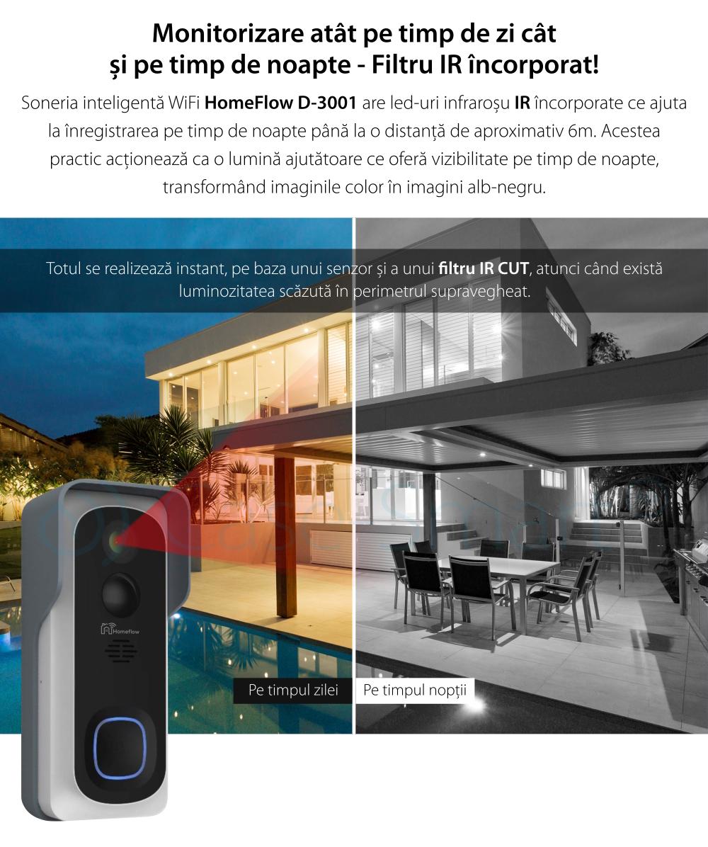 Sonerie inteligenta wireless cu monitorizare video Homeflow D-3001, Comunicare bidirectionala, Detectie miscare, Notificari, Modul sonerie interior inclus
