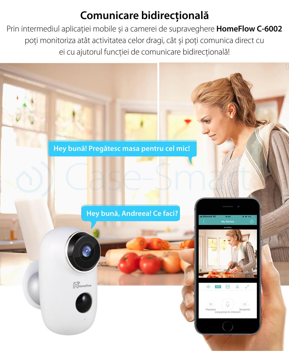Camera de supraveghere inteligenta Wireless Homeflow C-6002, Comunicare bidirectionala, Detectie miscare